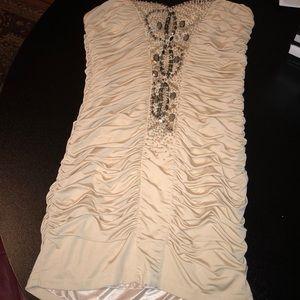 elegant strapless evening dress